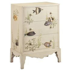 Hand-painted accent chest with tropical fish motif.    Product: Chest    Construction Material: Wood    ...
