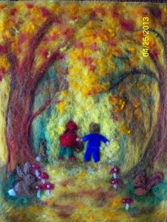 Wool Painting of Autumnal Walk