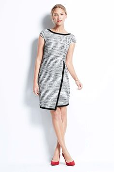 27 Throw-On-And-Go Dresses For Your 9-To-5 #refinery29 - Ann Taylor Tipped Tweed Cap Sleeve Dress $149