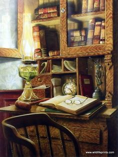 In Doug Knutson's print JURIS PRUDENCE a vintage lawyer's desk reflects a simpler time--a few law books, reading glasses, a gavel, and an oil lantern by which to work. Lady Justice reminds the lawyer