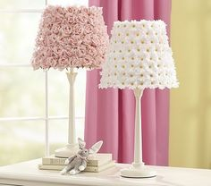 Bedroom lamps...light pink roses,  soft white or teal flowers.