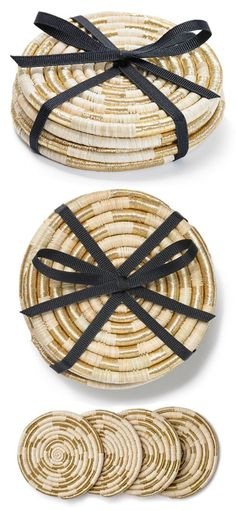 """The Agaseke, Rwanda's oldest traditional basket, is now called the """"Peace Basket,"""" as it has become a symbol of unity to the post-genocide nation. These coasters are created in the same traditional weaving technique of the Agaseke."""