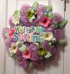 Pastel Spring Mesh Wreath