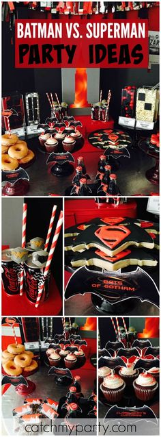 This Batman vs. Superman party is done in black, red and silver! See more party ideas at CatchMyParty.com!