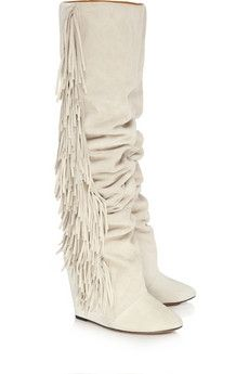 Isabel Marant|Suede and leather knee boots|NET-A-PORTER.COM - StyleSays
