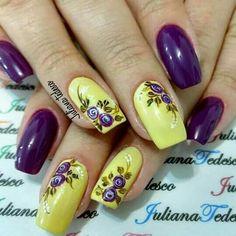 Purple Nail Art, Purple Nail Designs, Diy Nail Designs, Pretty Nail Art, Colorful Nail Designs, Yellow Nails, Acrylic Nail Designs, Crown Nail Art, Nagellack Design
