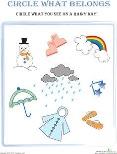 Preschool Sorting & Categorizing Weather & Seasons Worksheets: Circle What Belongs: Rainy Day Weather Activities Preschool, Preschool Workbooks, Rainy Day Activities For Kids, Seasons Activities, Kindergarten Worksheets, Worksheets For Kids, Lkg Worksheets, Phonics Worksheets, Preschool Education