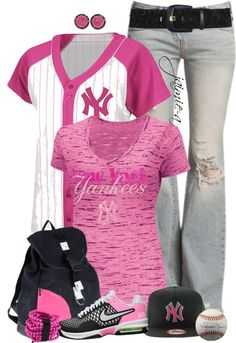 New York Yankees pink style Yankees Outfit, Yankees Gear, Yankees Baby, New York Yankees, Pink Outfits, Kpop Outfits, Swag Outfits, Summer Outfits, Cute Outfits