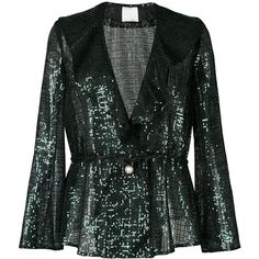 Ingie Paris sequins embellished blazer ($1,430) ❤ liked on Polyvore featuring outerwear, jackets, blazers, blazer, green, sequin jacket, green jacket, green sequin jacket, sequin blazer jacket and blazer jacket