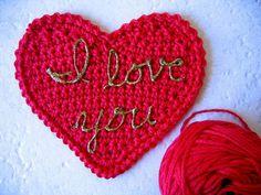 DIY Crochet heart coasters