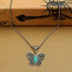 Mariposa de cristal Bohemia turquesa dulce encanto vintage collar de cadena código(1042402)