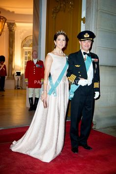 crownprincely:  Crown Prince Frederik and Crown Princess Mary arrive at the state dinner for the Turkish President and First Lady, March 17, 2014