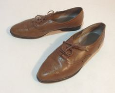 Vintage Brown Leather Lace Up Oxfords Size 10 by silkstocking, $30.00