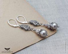 Platinum Grey Pearl Earrings, Bijoux Silver Filigree Earrings, Swarovski Crystal Pearls, Handmade Vintage Style Wedding Jewellery UK