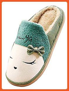 Blubi Womens Cat Print Fleece House Slippers Warm Bedroom Slippers (9.5, Green 1) - Slippers for women (*Amazon Partner-Link)