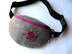 fanny pack with embroidery  grey and pink/mauve big by toritextil, $34.00