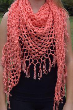 15 Fun, Fabulous FREE Fringed Crochet Patterns: Macrame Knot Fringe Shawl Free Crochet Pattern