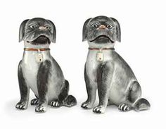 TWO GRISAILLE PUG DOGS