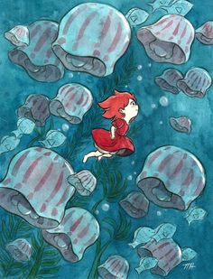 """This is my Ponyo inspired piece for the """"Crazy 4 Cult"""" show at Gallery 1988 West! The show opens October 21st and runs until November 5th at their G1988 West location, 7308 Melrose Ave, LA. So happy to be a part of it, especially since this will be..."""