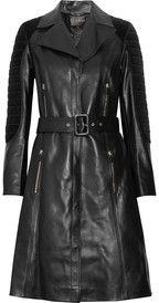 VersaceQuilted corduroy-paneled leather trench coat