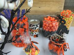 Candy Corn | Pumpkin Mello Crèmes | Black and White Sixlets | Orange and Black Gummy Bears | Juju Pumkins | Purple Rock Candy