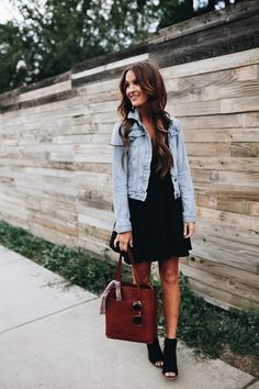 Cute outfit: LBD with black sandals and denim jacket.