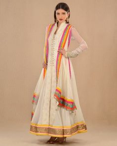 #Exclusivelyin, #IndianEthnicWear, #IndianWear, #Fashion, Cream Embroidered Suit With Multicolored Dupatta