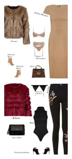 """""""Sexy Modest Winter Date Outfit"""" by s-thinks ❤ liked on Polyvore featuring Andrea Marques, Gianvito Rossi, Gucci, Agent Provocateur, Topshop, Christian Louboutin, AINEA, Fleur du Mal and Karen Millen"""
