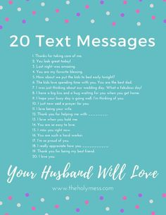 20 Text Messages Your Husband Will Love|Free Printable|Husband|Marriage Idea|Married Life