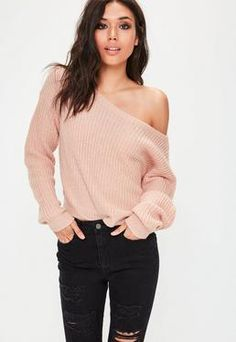 Nude Off Shoulder Cropped Knitted Jumper missguided