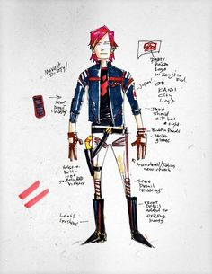 gerard way danger days my chemical romance mcr yup killjoys this is kinda awesome i Gerard Way Danger Days, Gerard Way Art, Emo Art, Black Parade, Killjoys, Emo Boys, Fall Out Boy, Ms Gs, My Chemical Romance