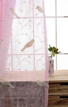 WPKIRA Beautiful Grommet Top Little Birds Embroidered Curtains Half Shading Small Fresh Living Room Den Screens Light Filtering Voile Panels Sheer Window Curtains 1 Panel Pink x inch *** Click photo for even more information. (This is an affiliate link). Bird Curtains, Curtains 1 Panel, Voile Panels, Window Curtains, Fresh Living Room, Click Photo, Little Birds, Screens, Sd