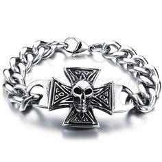 Mens Gothic Biker Stainless Steel Cross Skull Bracelet Chain Link Halloween Gift #Unbranded #Chain