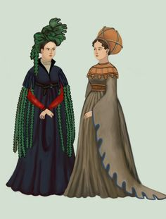 Italy, 1420 woman on right is wearing a Burgundian gown w/flared & dagged sleeves, a short dagged cape and balzo headdress; on the left a dress w/ tighter sleeves and chaperone headdress. Necklines are higher w/ V-neck Medieval Costume, Medieval Dress, Medieval Fashion, Medieval Clothing, Historical Clothing, Historical Dress, 15th Century Fashion, 15th Century Clothing, Hennin