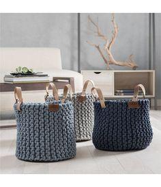 Discover thousands of images about UGG® Tulum Rope Basket Crochet Basket Pattern, Knit Basket, Rope Basket, Basket Weaving, Crochet Baskets, Crochet Storage, Crochet Hooks, Rope Shelves, Leather Label