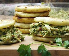 arepas with chicken & avocado salad