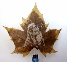 Mary and Baby Jesus ~~ By hand Portrait /commission sculpture by artist Linda Jin titled: 'leaf art'