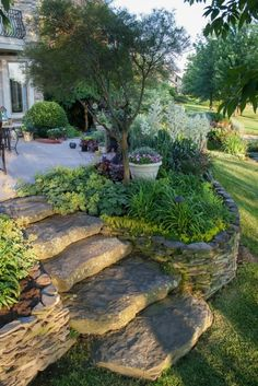 Garden rock wall with built in stone steps | landscaping ideas | garden | plants | stone patio