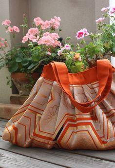 OR251 Vintage Obi Pleated Tote Bag In Orange by RummyHandmade, $65.00