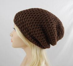 Brown Slouchy Beanie Womens Crochet Slouch Hat Fall Winter Hat #etsy #etsyretwt