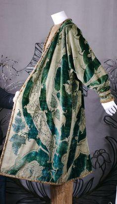 Mariano Fortuny Green Renaissance Pattern Velvet Persian Coat