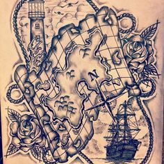 Something like this would be so cool: nice combination of a world map and a lighthouse tattoo. I'd add a few personal touches, but great base. Neotraditional ship / compass / lighthouse / map (nautical) tattoo sketch / drawing by - Ranz Pirate Tattoo Half Sleeve, Pirate Map Tattoo, Pirate Treasure Tattoo, Tattoo Old School, Map Tattoos, Sleeve Tattoos, Tattoo Sleeves, Tattoo Sketches, Drawing Sketches