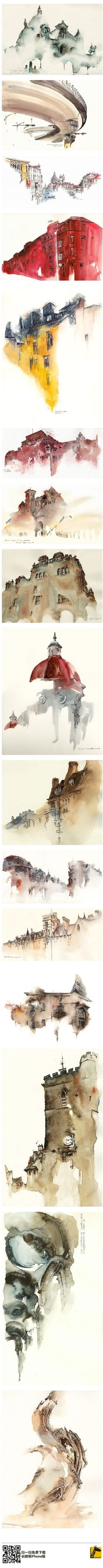These are beautiful. Like remembering places in a dream state. #watercolor jd