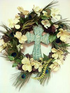 Spring Wreath Cross Wreath Peacock Feather Wreath. $91.97, via Etsy.