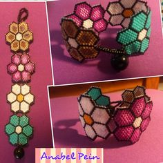 BRAZALETE PRIMAVERA.....muy muy primaveral y alegre Beaded Bracelet Patterns, Peyote Bracelet, Peyote Beading, Seed Bead Bracelets, Beaded Clutch, Beaded Earrings, Beaded Jewelry, Peyote Triangle, Loom Patterns