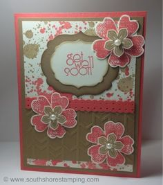 Get well card using Petite Petals, Gorgeous Grunge, Flower Shop and Delightful Dozen from the Stampin' Up! 2013-2014 catalog by Emily Mark SU demo Montreal. www.southshorestamping.com
