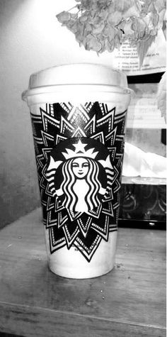 Burst of black and white by Twitter user Clara (aka cupsbydesign). #WhiteCupContest