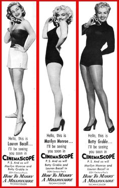 """Lauren Bacall, Marilyn Monroe and Betty Grable, """"How To Marry A Millionaire"""", 1953."""