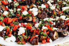 Greek Style Roasted Mushrooms with Red Pepper, Herbs, and Feta