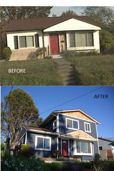 Before and after shot of a home in Seattle's Ballard neighborhood. Second-story addition by Flying Dormer. www.flyingdormer.com